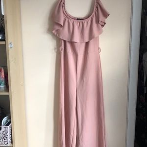 Off the shoulder pink jumpsuit romper size large